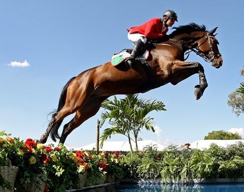 GUADALAJARA, MEXICO - OCTOBER 27:  Alberto Michan of Mexico jumps the water during the Jumping Competition at the Guadalajara Country Club on Day 13 of the XVI Pan American Games on October 27, 2011 in Guadalajara, Mexico.  (Photo by Al Bello/Getty Images)